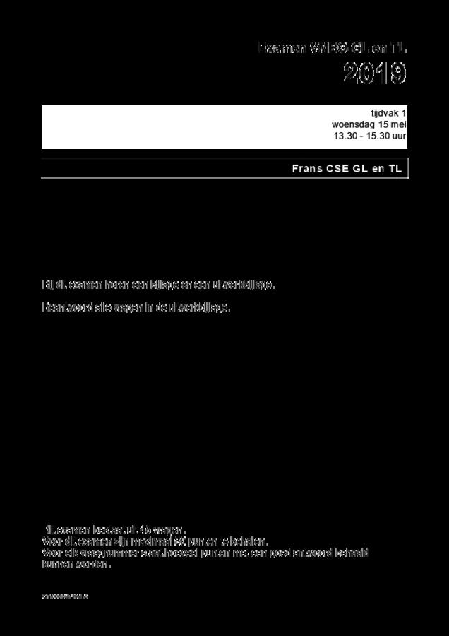 Opgaven examen VMBO GLTL Frans 2019, tijdvak 1. Pagina 1