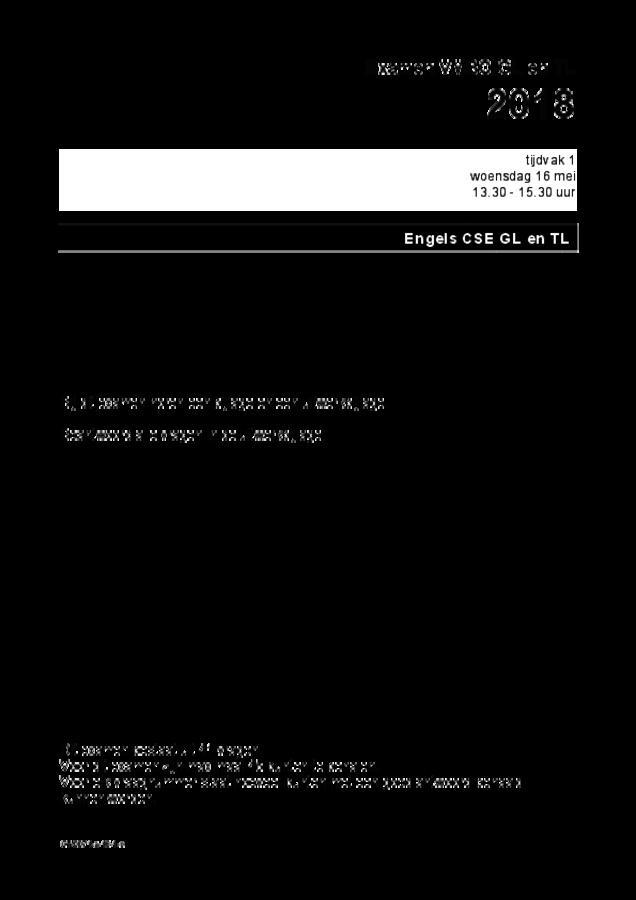 Opgaven examen VMBO GLTL Engels 2018, tijdvak 1. Pagina 1