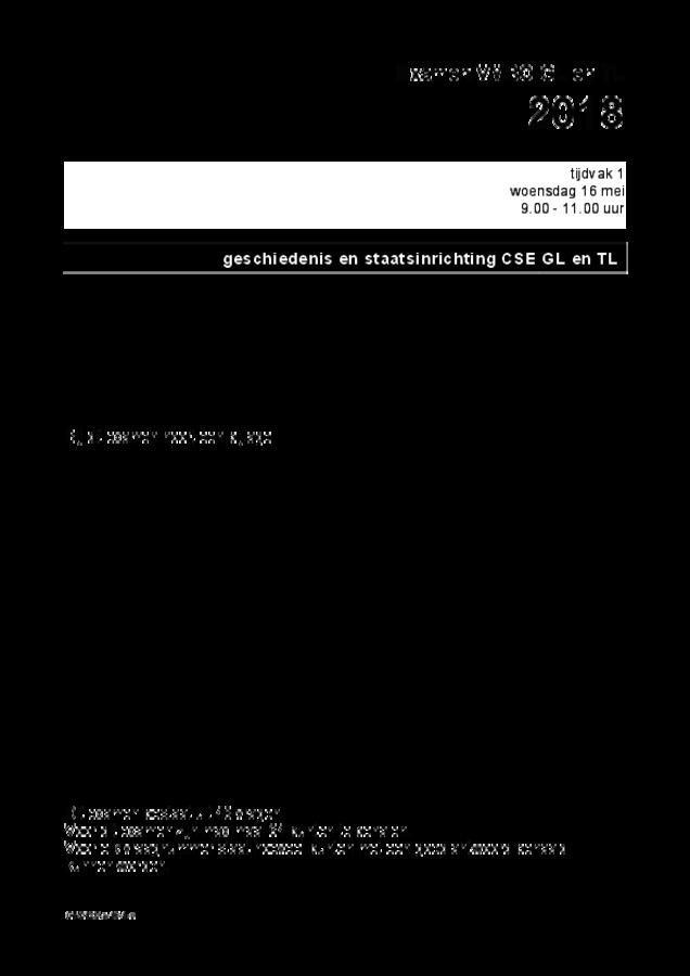 Opgaven examen VMBO GLTL geschiedenis 2018, tijdvak 1. Pagina 1