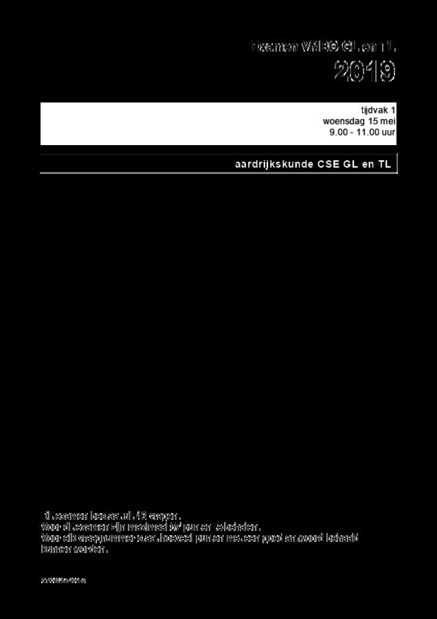 Opgaven examen VMBO GLTL aardrijkskunde 2019, tijdvak 1. Pagina 1
