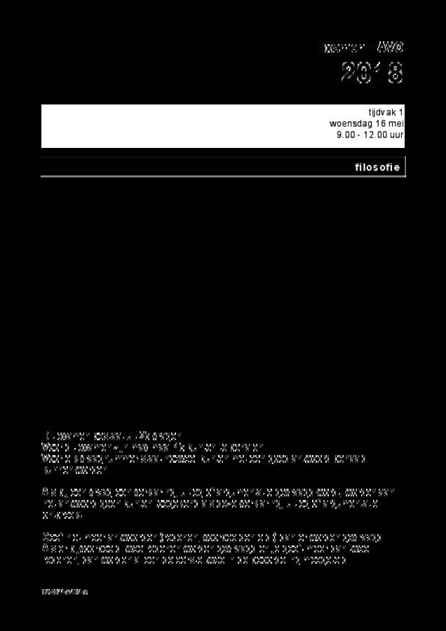 Opgaven examen HAVO filosofie 2018, tijdvak 1. Pagina 1