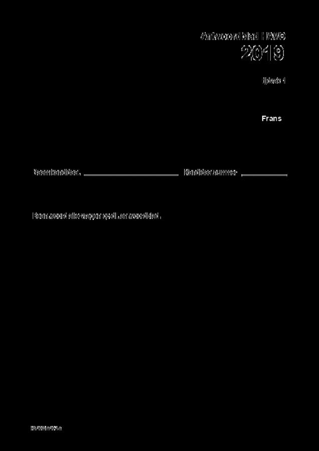 Antwoordblad examen HAVO Frans 2019, tijdvak 1. Pagina 1