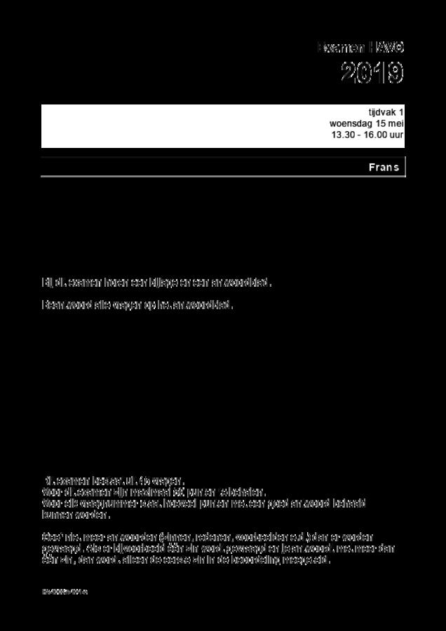 Opgaven examen HAVO Frans 2019, tijdvak 1. Pagina 1