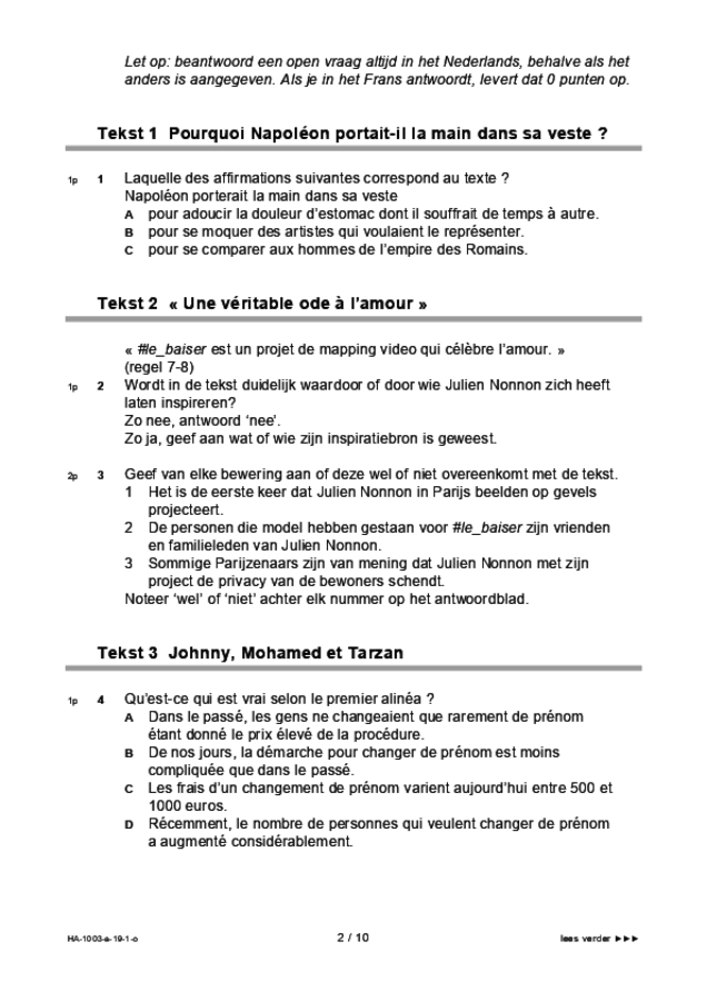 Opgaven examen HAVO Frans 2019, tijdvak 1. Pagina 2