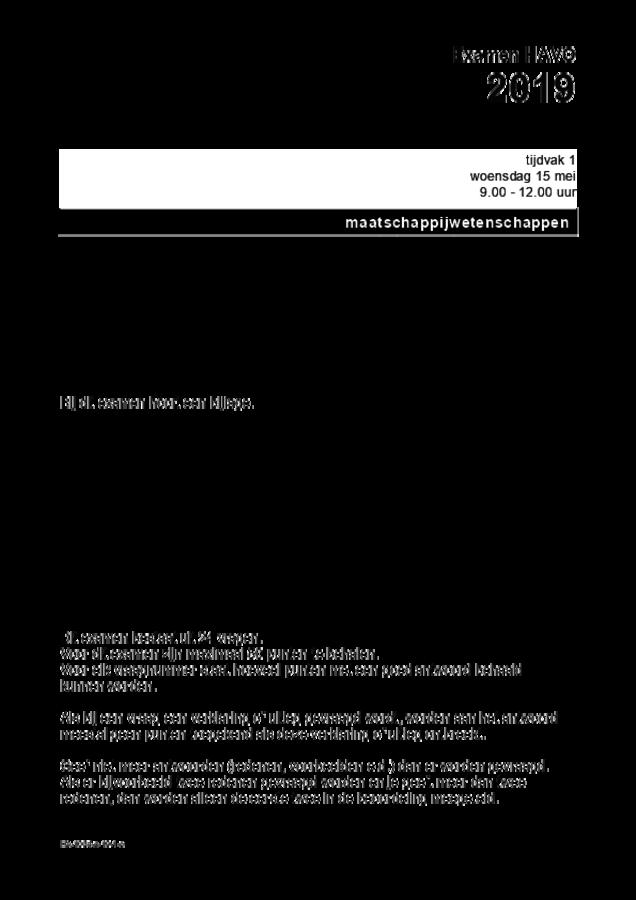 Opgaven examen HAVO maatschappijwetenschappen 2019, tijdvak 1. Pagina 1