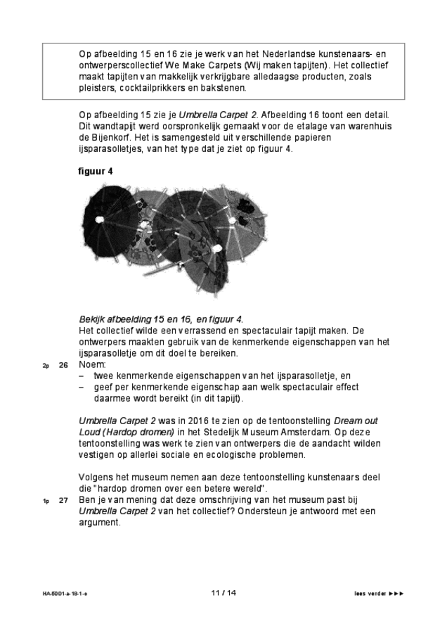 Opgaven examen HAVO tekenen, handenarbeid en textiele werkvormen 2018, tijdvak 1. Pagina 11