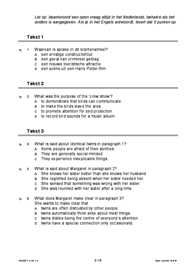 Opgaven examen VMBO KB Engels 2018, tijdvak 1. Pagina 2