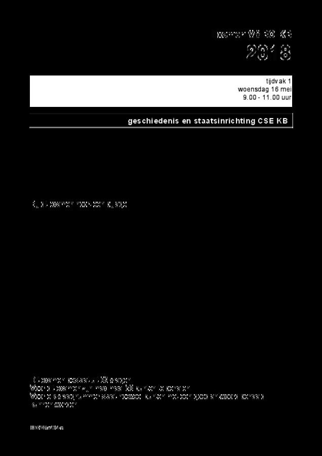 Opgaven examen VMBO KB geschiedenis 2018, tijdvak 1. Pagina 1
