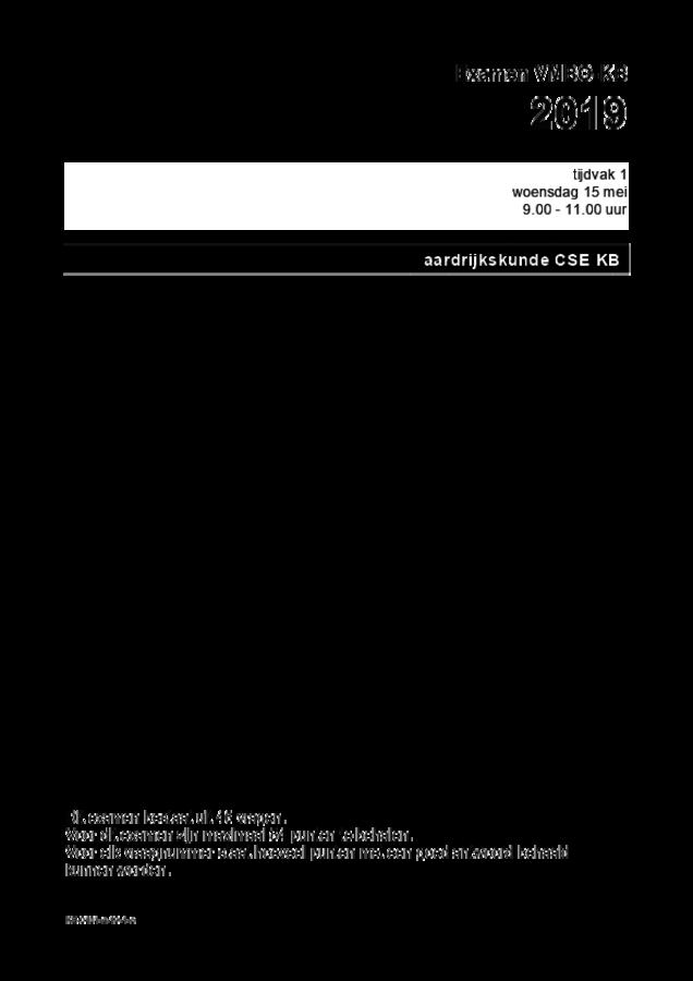 Opgaven examen VMBO KB aardrijkskunde 2019, tijdvak 1. Pagina 1